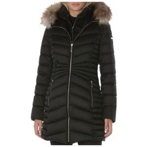🧥 Laundry Black Puffer Coat w/Faux Fur Trim 🧥
